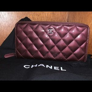 Chanel 2012 Burgundy Patent Leather Zip Wallet